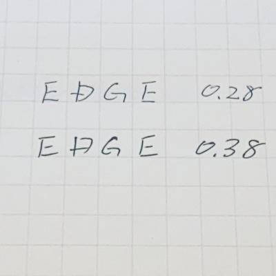 0.28mm と0.38mm を書き比べてみた